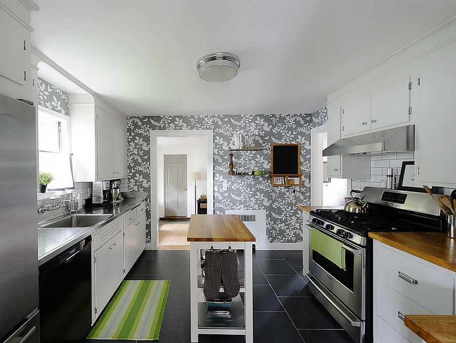 wallpaper in neutral hues is more apt for contemporary kitchens design er miller - Wallpaper Ideas For Kitchen