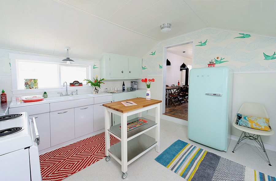 Wallpaper is a perfect choice for the retro kitchen [Design: Sarah Phipps Design]