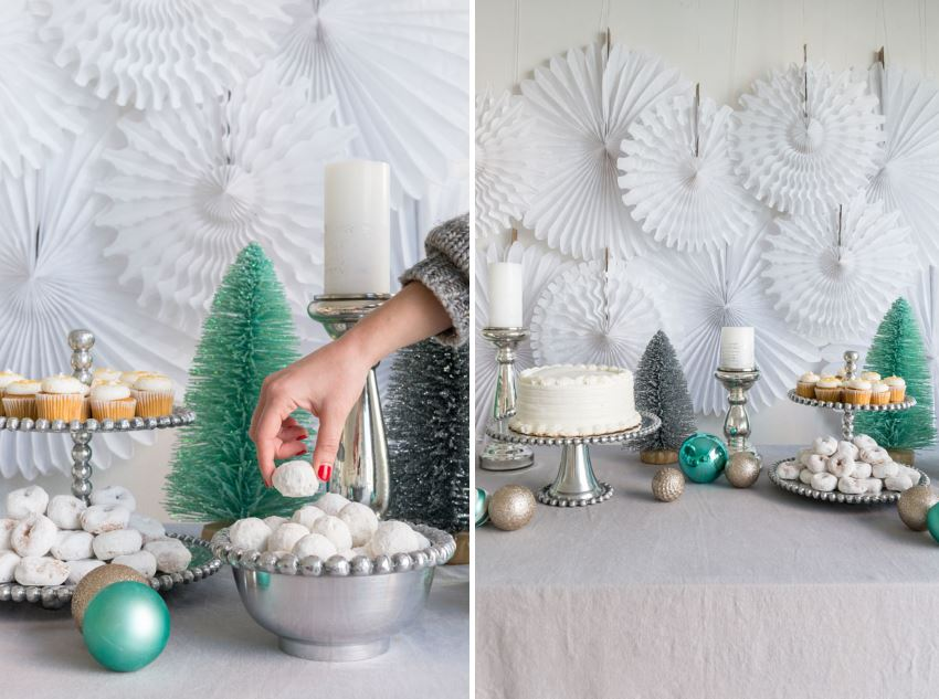 White holiday dessert table Creative Christmas Party Ideas for Design Lovers