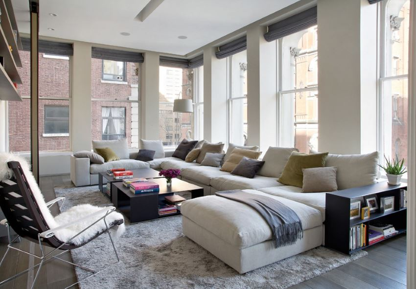 White sectional in a modern loft