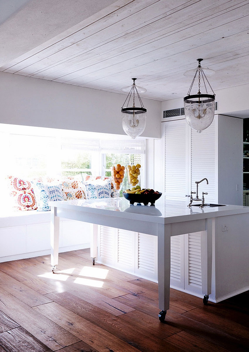 Window nook in the kitchen with a rustic modern style