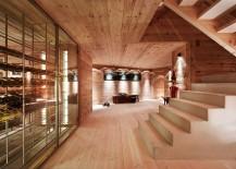 Wine cellar inside the lavish Swiss Chalet