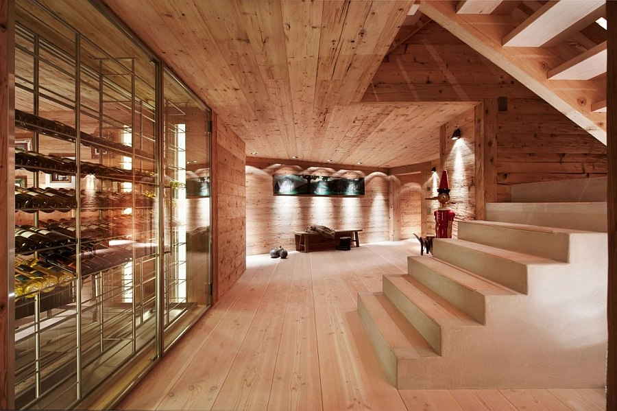 Wine cellar inside the lavish Swiss Chalet