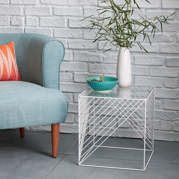 Wire and glass side table