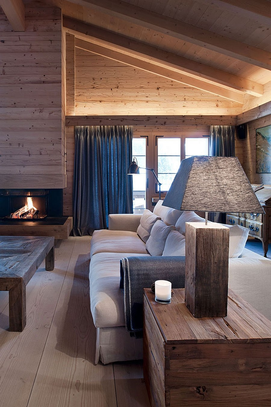 Wonderful blend of textures and roaring fireplace steal the show