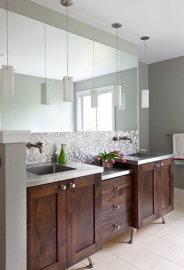 View in gallery Wonderful blend of traditional and contemporary elements in  the bathroom [Design: Designer Premier]