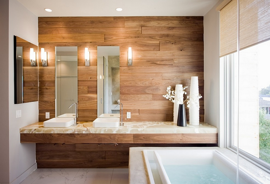 ... Wood Adds Natural Warmth To The Bathroom [Design: Mark Brand  Architecture]