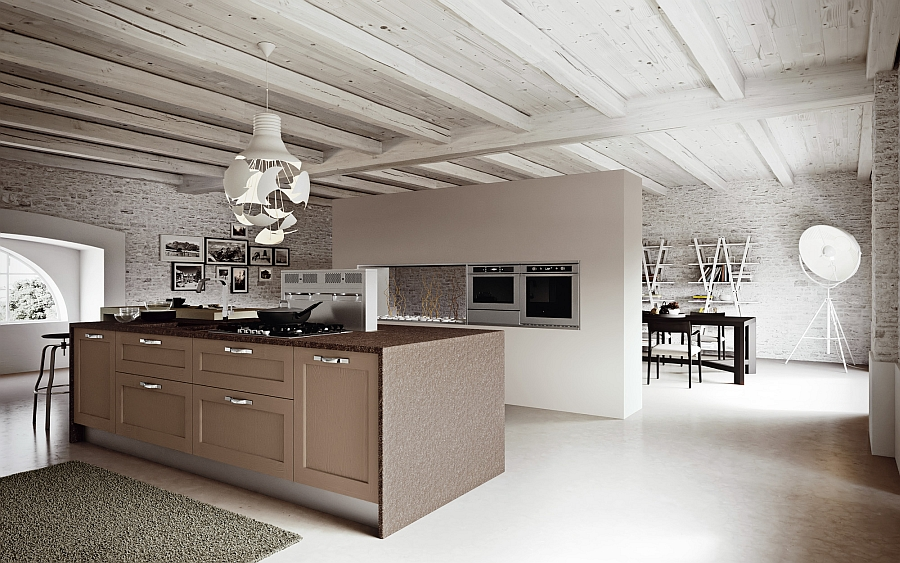 Wooden beams add to the appeal of the beautiful kitchen