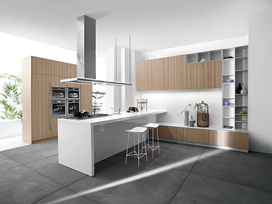 Wooden cabinet doors add visual warmth to the contemporary kitchen