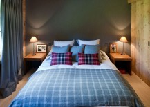 Wool and cashmere Italian and British fabrics shape the cozy bedroom