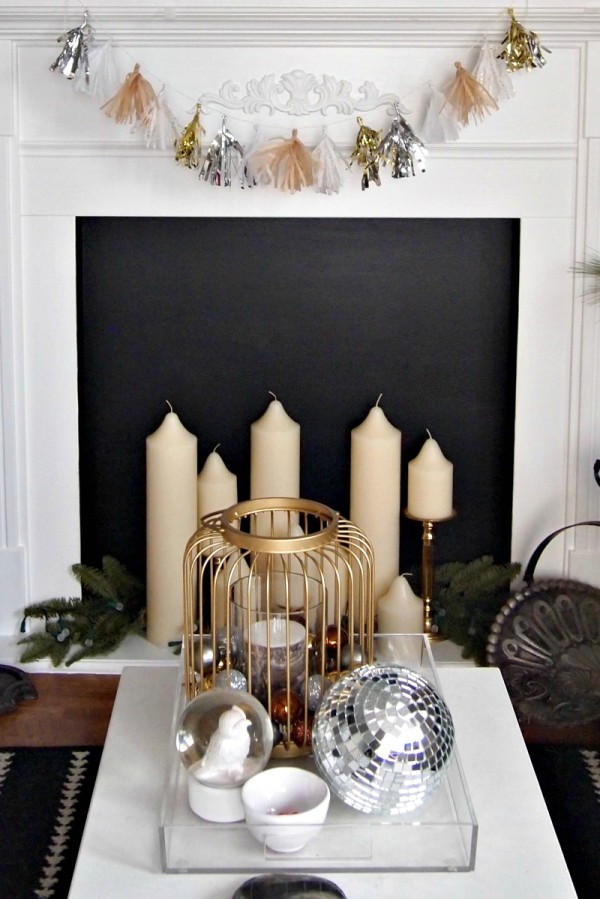 close up of garland on fireplace mantle