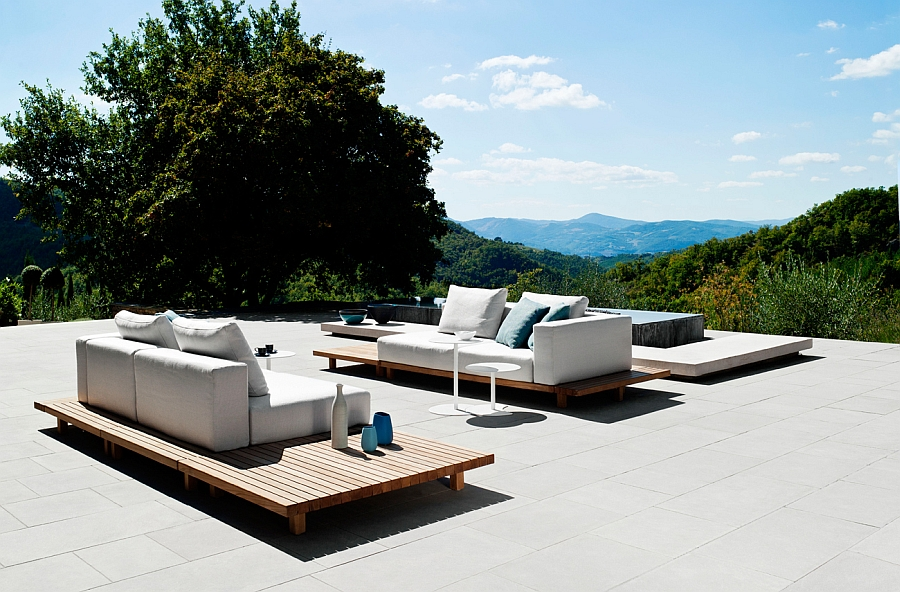 fabulous outdoor sofa design with comfy, durable design