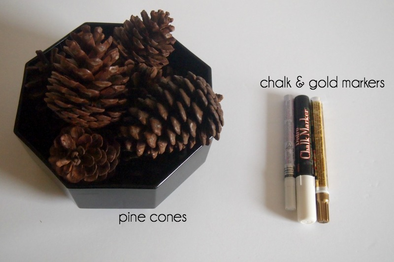 markers and pine cones for craft