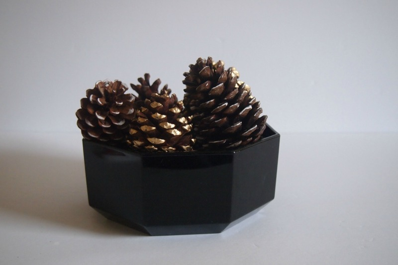 painted pine cones - finished