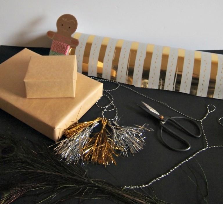 Diy metallic tinsel tassel gift wrap