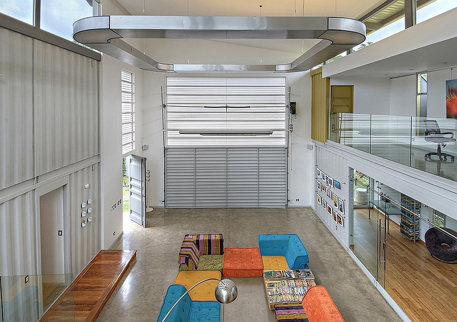 40 feet cube container makes up the central space of the shipping container home