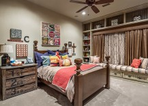 A balanced blend of rustic and modern styles in the beautiful kids' bedroom