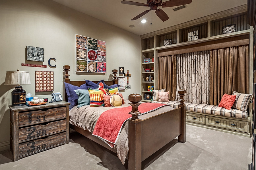 A balanced blend of rustic and modern styles in the beautiful kids' bedroom [Design: Jauregui Architect]
