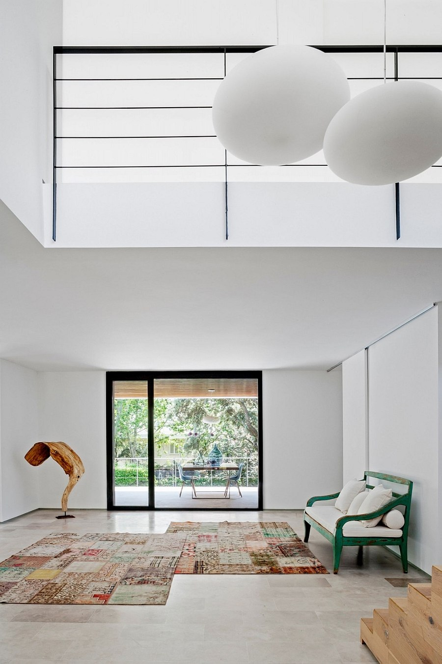 A blend of eclectic decor adds color to the contemporary space