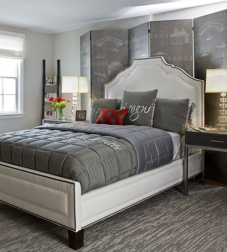 Polished passion 19 dashing bedrooms in red and gray for Grey and white bedroom designs