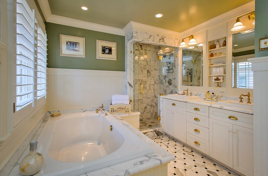 A hint of gold for the beautiful traditional bath in green and white [From: Dennis Mayer Photography]