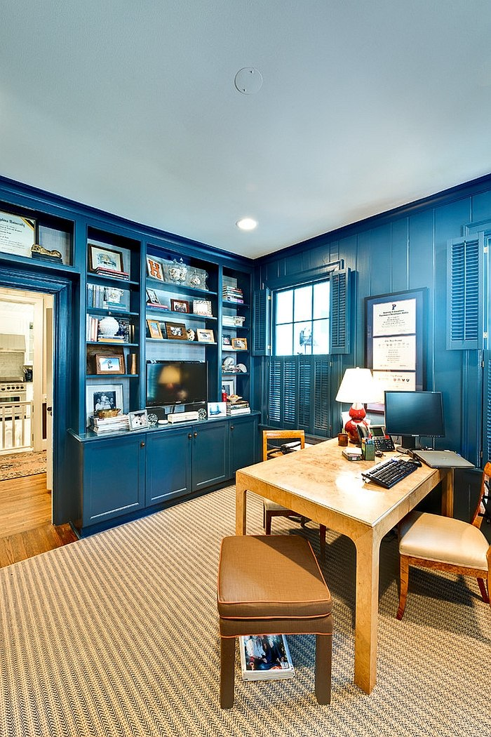 A splash of navy blue for the eclectic home office [Design: Andrew Roby General Contractors]