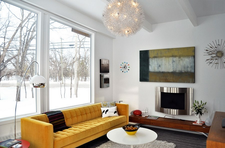 A splash of yellow for the all-white living room [From: Houzz]