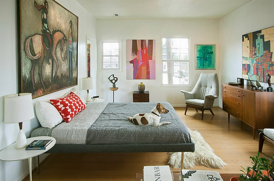 abstract art gives the midcentury bedroom a modern flavor design