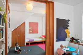 Abstract patterns in a modern children's bedroom and playroom