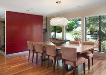 Accent wall adds subtle pattern to the dining room