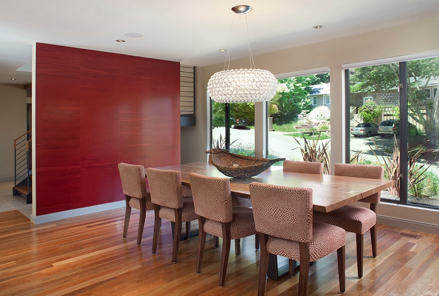 View In Gallery Accent Wall Adds Subtle Pattern To The Dining Room Design Ohashi Studio