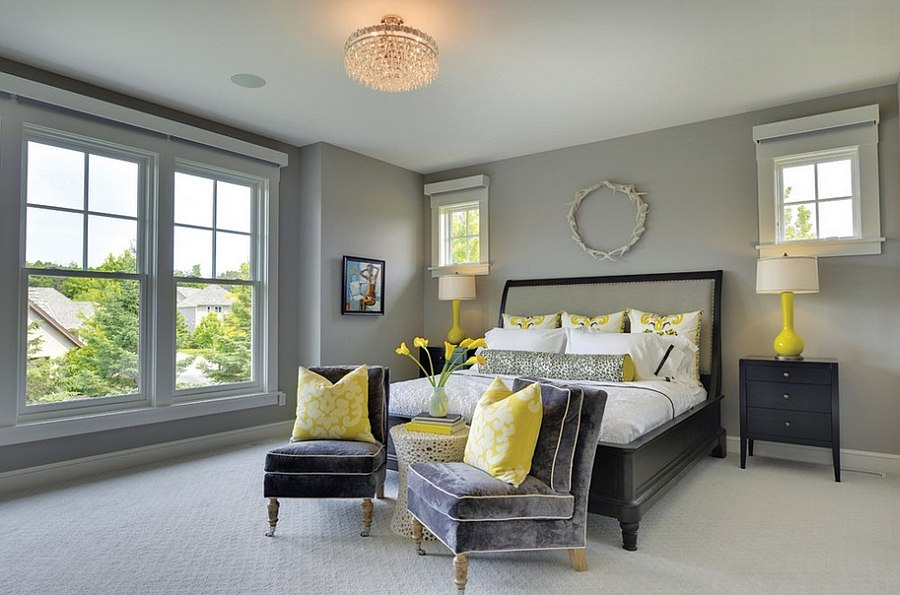 Grey Bedroom Decor View in gallery Add a couple of throw pillows to infuse yellow zest to the  room [Design: