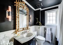 Add a touch of gold to glam up the dark bathroom