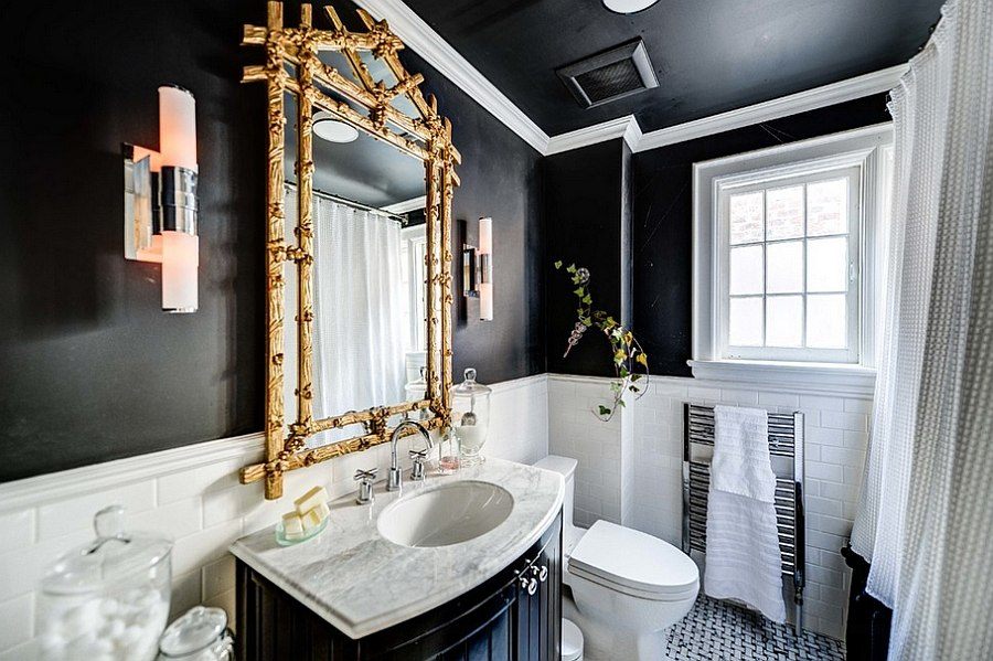 View In Gallery Add A Touch Of Gold To Glam Up The Dark Bathroom [Design:  Bravehart Building