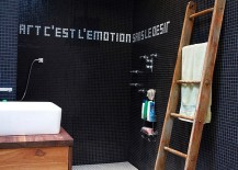 Add an inspirational quote to your bathroom walls with tiles!