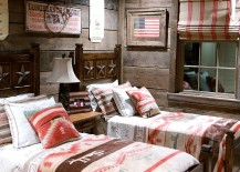 Americana meets rustic style inside this kids' bedroom
