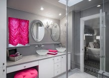 An easy way to add pink to your trendy gray bathroom