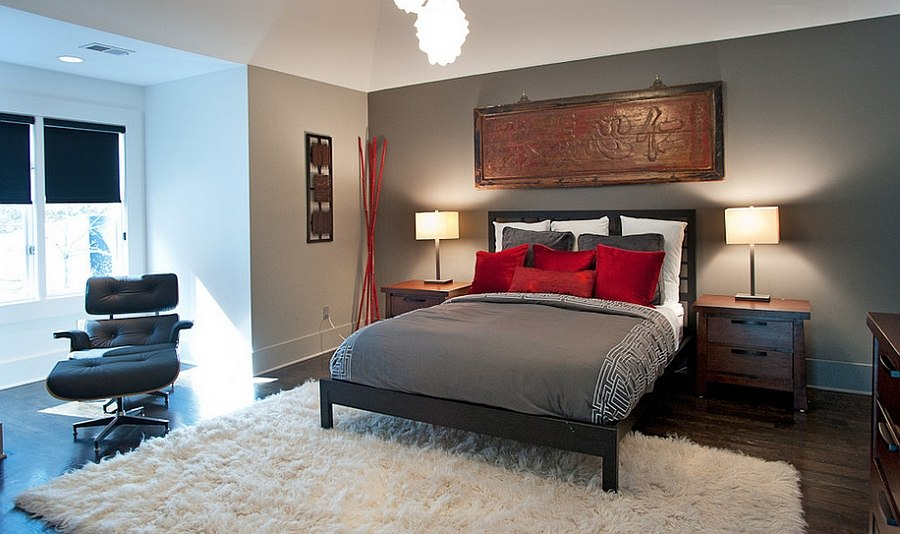 Asian inspired bedroom in gray and red [Design: Atmosphere 360 Studio]