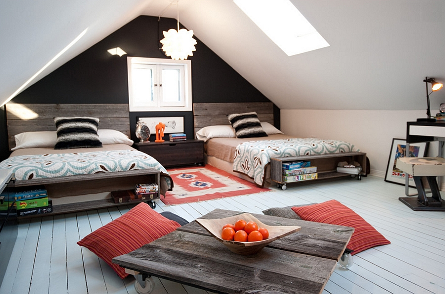 Attic kids' bedroom with low furnishings and skylight [Design: Dyanne Wilson Photography]