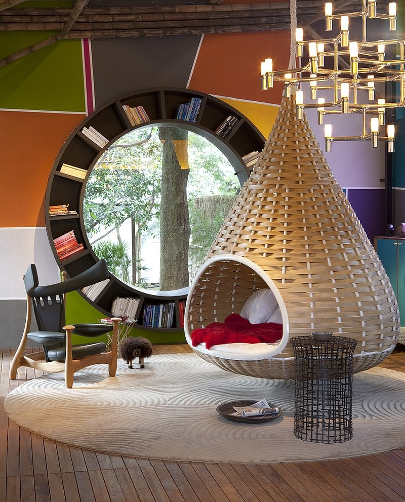 Audacious contemporary living room with a circular bookshelf Chic Living Room Decorating Trends to Watch Out for in 2015