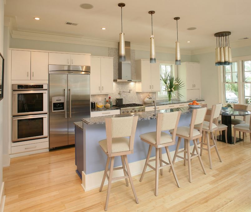 Bamboo flooring in a kitchen designed by Kristy Johnston of Two Girls and a Design