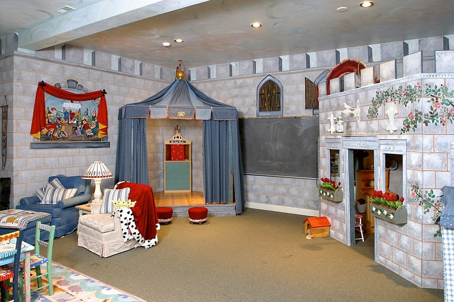 Basement playroom stage designed as a jousting tent [Design: YES Spaces]