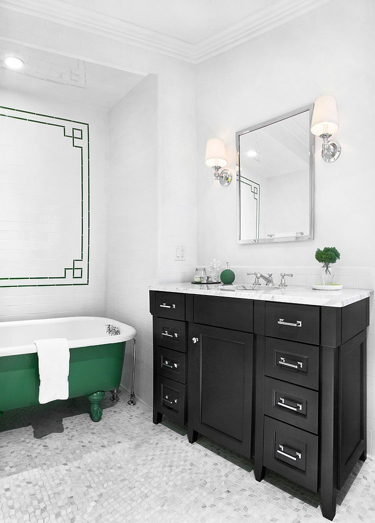 Bathtub adds a splash of bold green to the neutral setting [Design: Randall Architects]