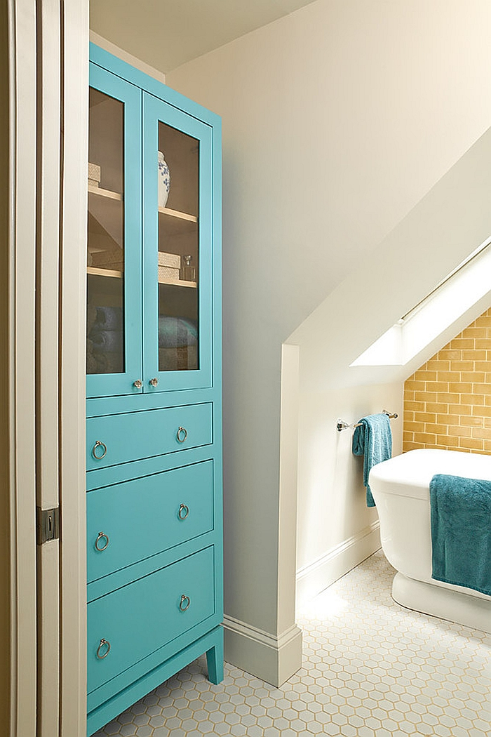 Beach style bathroom in yellow and turquoise [Design: Renewal Design-Build]