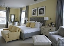 Beach style bedroom in yellow with a splash of gray!