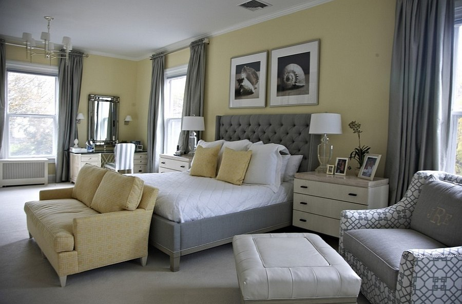 Beach style bedroom in yellow with a splash of gray! [Design: Libby Langdon Interiors]