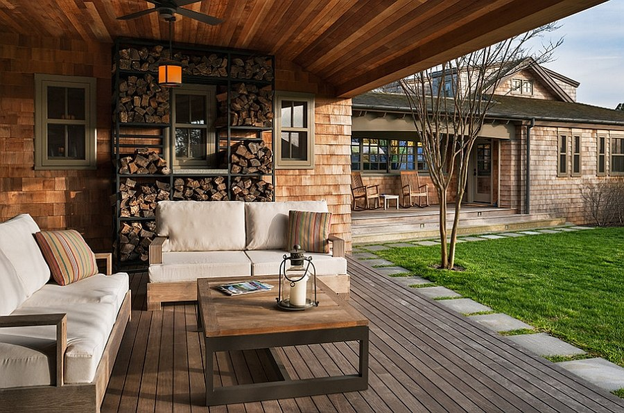 Superb Beach Style Porch Has Ample Space For Firewood . Outdoor Storage Ideas IDI  Design ...