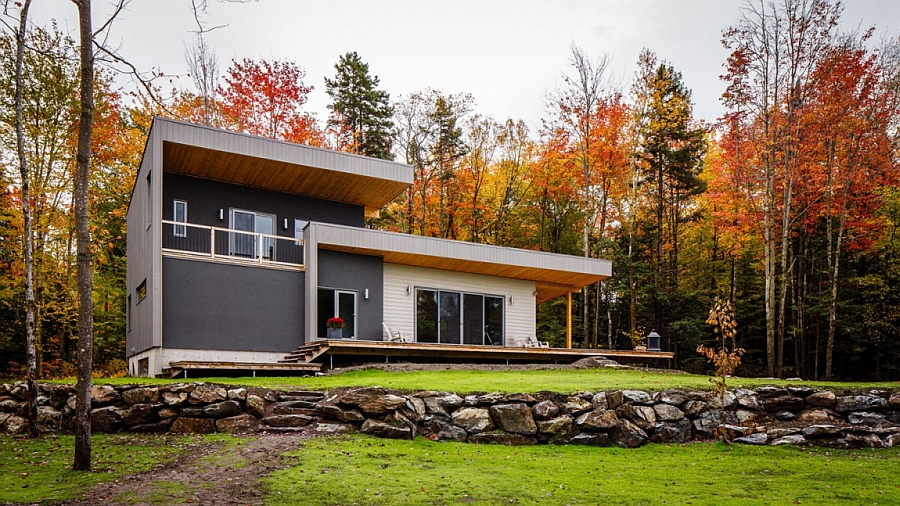 Beautiful Chalet Bolton Est in Quebec Canada Tranquil Private Residence Combines Modern Design with Rustic Charm