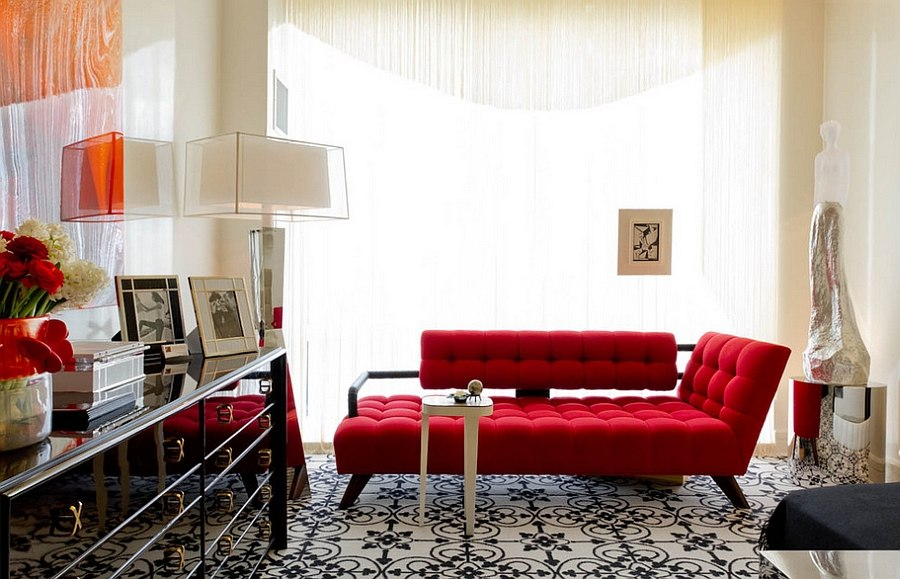 Beautiful contemporary couch in dazzling red [Design: Charles Pavarini III Design Associates / Rikki Snyder Photography]