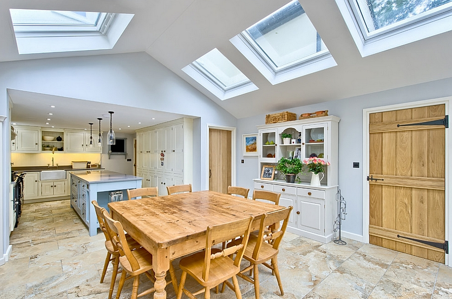 Beautiful farmhouse style kitchen with multiple skylights [Design: Harvey Norman Architects]